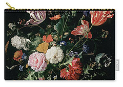 Flowers In A Glass Vase, Circa 1660 Carry-all Pouch by Jan Davidsz de Heem