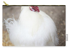 Carry-all Pouch featuring the photograph Fluffy White Hen by Erika Weber