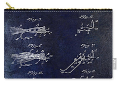 1922 Fly Fishing Lure Blue Carry-all Pouch by Jon Neidert