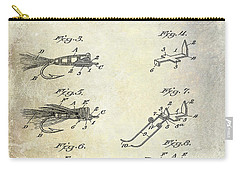 1922 Fly Fishing Lure Patent Drawing Carry-all Pouch by Jon Neidert