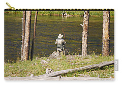 Carry-all Pouch featuring the photograph Fly Fishing by Mary Carol Story