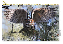 Flying Blind - Great Horned Owl Carry-all Pouch