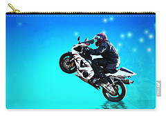 Carry-all Pouch featuring the photograph Flying Low One More Time On Two Wheels by Joyce Dickens