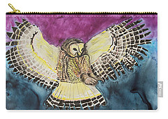 Carry-all Pouch featuring the painting Flying Owl by Jeanne Fischer
