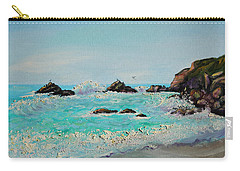 Carry-all Pouch featuring the painting Foamy Ocean Waves And Sandy Shore by Asha Carolyn Young