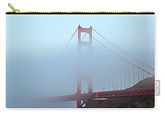 Carry-all Pouch featuring the photograph Fog And The Golden Gate by Jonathan Nguyen