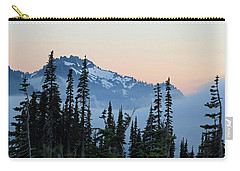 Mt. Rainier's Foggy Sunset Carry-all Pouch by E Faithe Lester