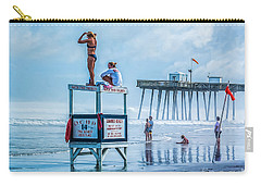 Foggy Beach View Carry-all Pouch by Nick Zelinsky