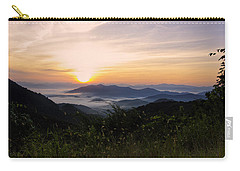 Foggy Blue Ridge Mountain Sunrise Carry-all Pouch by Kenny Francis