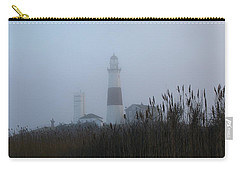 Foggy Montauk Lighthouse Carry-all Pouch by Karen Silvestri