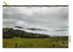 Carry-all Pouch featuring the photograph Foggy Morning In The Mountains. by Debbie Green