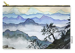 Foggy Mountaines Sunset View  Carry-all Pouch by Alban Dizdari