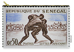 Folk Wrestling Vintage Postage Stamp Print Carry-all Pouch by Andy Prendy