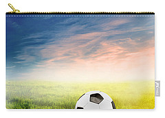Football Soccer Ball On Green Grass Carry-all Pouch