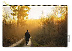 Forest Path Into The Warm Orange Sunset Carry-all Pouch
