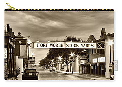 Fort Worth Stock Yards In Sepia Carry-all Pouch