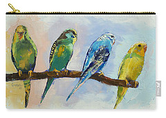 Four Parakeets Carry-all Pouch by Michael Creese