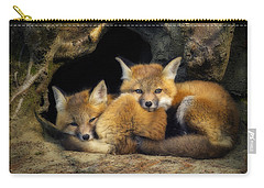 Best Friends - Fox Kits At Rest Carry-all Pouch by John Vose