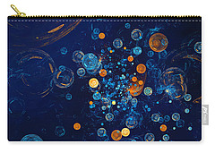 Carry-all Pouch featuring the digital art Fractal Soapbubbles - Abstract In Blue And Orange by Menega Sabidussi