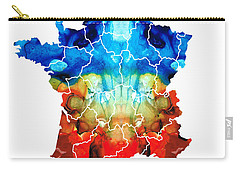 France - European Map By Sharon Cummings Carry-all Pouch by Sharon Cummings