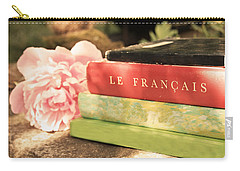 Carry-all Pouch featuring the photograph French Books And Peony by Brooke T Ryan