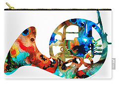 French Horn - Colorful Music By Sharon Cummings Carry-all Pouch by Sharon Cummings
