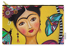 Carry-all Pouch featuring the painting Frida Kahlo And Her Cat by Pristine Cartera Turkus