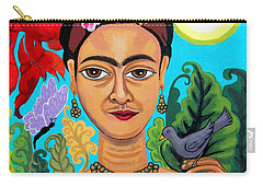 Frida Kahlo With Monkey And Bird Carry-all Pouch by Genevieve Esson