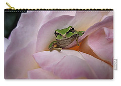 Carry-all Pouch featuring the photograph Frog And Rose Photo 1 by Cheryl Hoyle
