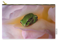 Carry-all Pouch featuring the photograph Frog And Rose Photo 2 by Cheryl Hoyle