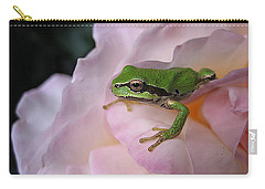 Frog And Rose Photo 3 Carry-all Pouch by Cheryl Hoyle