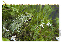 Frog On Water's Edge Carry-all Pouch by Christina Rollo