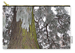 Carry-all Pouch featuring the photograph Frost On The Leaves by Felicia Tica