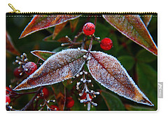 Frosted Nandina Leaves Carry-all Pouch