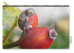 Carry-all Pouch featuring the photograph Frosted Rosehips by Nina Silver