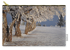 Carry-all Pouch featuring the photograph Frosted Trees by Fran Riley