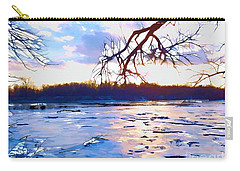 Frozen Delaware River Sunset Carry-all Pouch by Robyn King