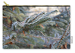 Carry-all Pouch featuring the photograph Frozen Fir Branch  by Felicia Tica