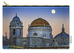 Full Moon Rising Over The Cathedral Cadiz Spain Carry-all Pouch