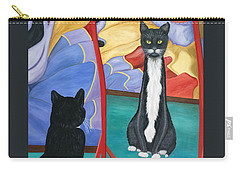 Carry-all Pouch featuring the painting Fun House Skinny Cat by Karen Zuk Rosenblatt