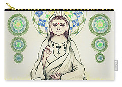 Carry-all Pouch featuring the painting Fureai Quan Yin In Kyoto by Keiko Katsuta