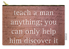 Galileo Quote Science Astronomy Math Physics Inspirational Words On Canvas Carry-all Pouch