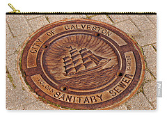 Galveston Texas Manhole Cover Carry-all Pouch by Connie Fox