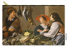 Game And Vegetable Sellers Oil On Canvas Carry-all Pouch by Theodor Rombouts