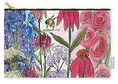 Carry-all Pouch featuring the painting Garden Flower And Bees by Laurie Rohner