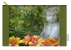 Carry-all Pouch featuring the photograph Garden Girl And Orange Lilies Digital Watercolor by Sandra Foster
