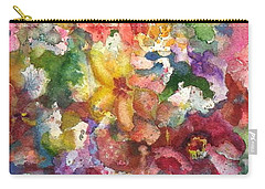 Carry-all Pouch featuring the painting Garden - The Secret Life Of The Leftover Paint by Anna Ruzsan