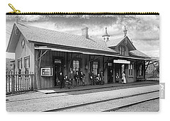 Garrison Train Station In Black And White Carry-all Pouch