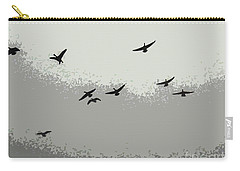 Carry-all Pouch featuring the photograph Geese In Sillouehette by Nina Silver