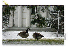 Carry-all Pouch featuring the photograph Geese In Snow by Kathy Barney